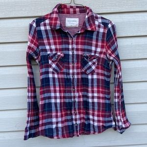 Denver Hayes Womens Small Plaid Top Button Up